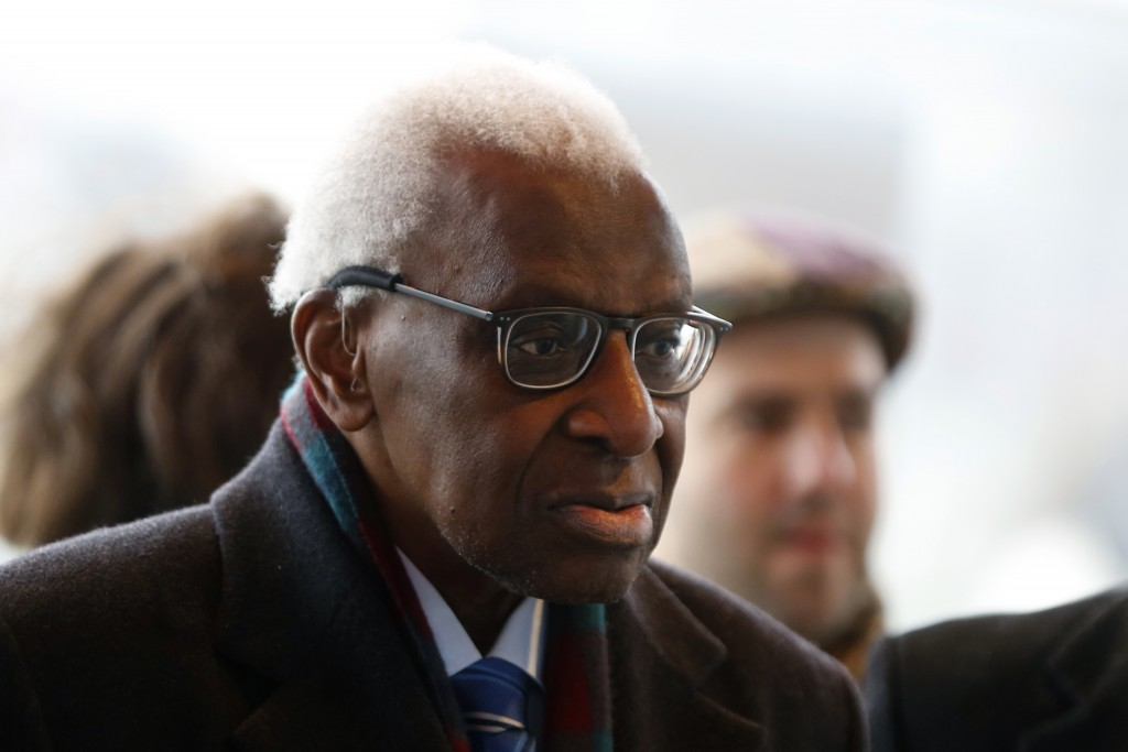 FILE - Iin this Jan.13, 2020 file photo, former president of the IAAF (International Association of Athletics Federations) Lamine Diack arrives at the...