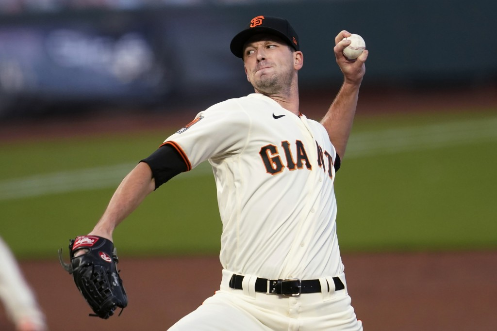 San Francisco Giants' Drew Smyly pitches against the Seattle Mariners during the first inning of a baseball game in San Francisco, Wednesday, Sept. 16...