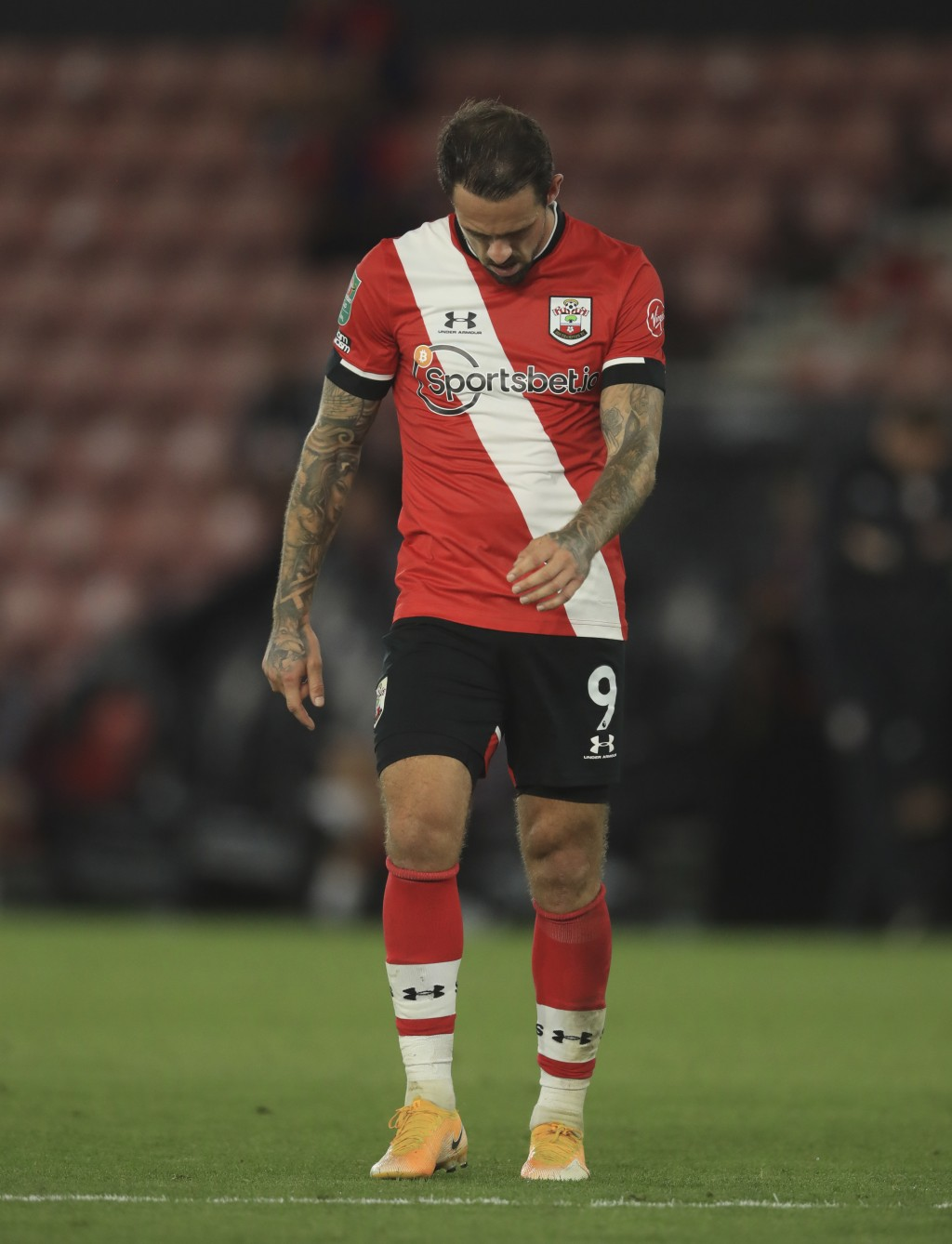 Southampton's Danny Ings reacts during the English League Cup soccer match between Southampton and Brentford at St. Mary's Stadium in Southampton, Eng...