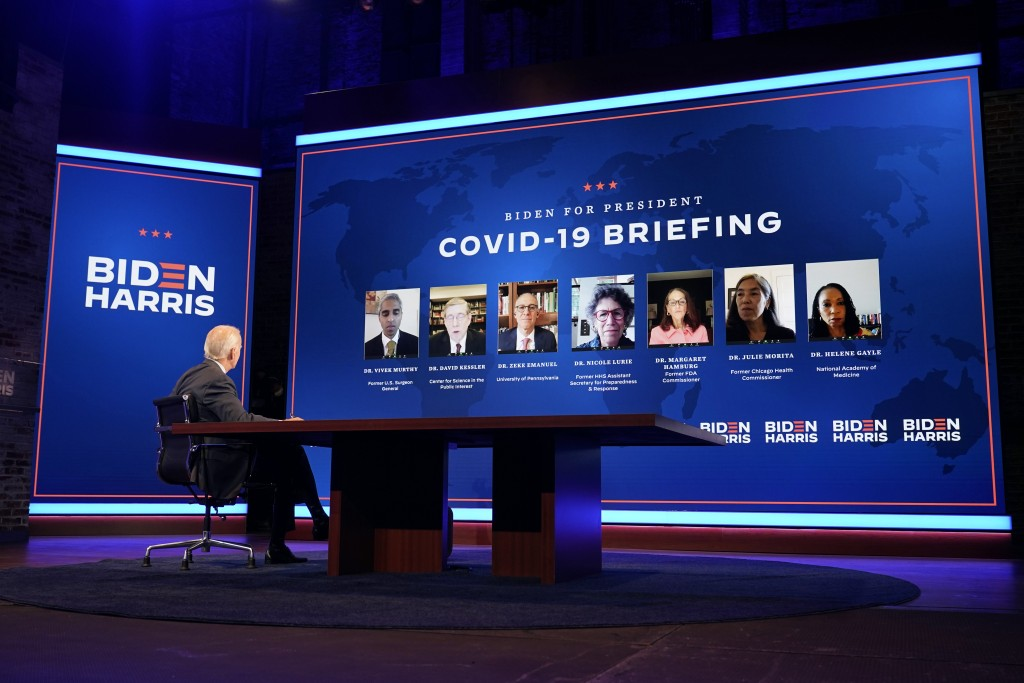 Democratic presidential candidate former Vice President Joe Biden participates in a coronavirus vaccine briefing with public health experts, Wednesday...