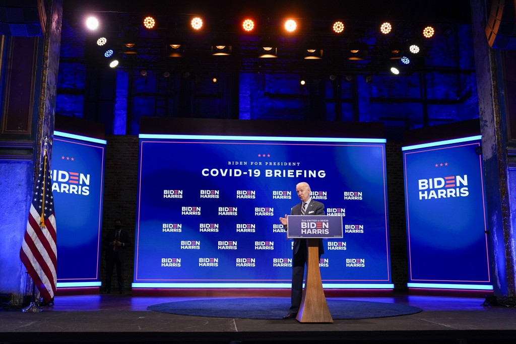 Democratic presidential candidate former Vice President Joe Biden speaks after participating in a coronavirus vaccine briefing with public health expe...