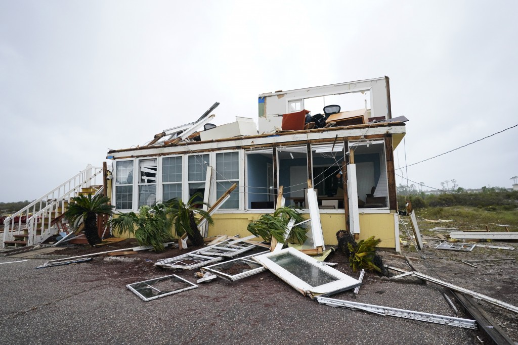The business of Joe and Teresa Mirable is seen after Hurricane Sally moved through the area, Wednesday, Sept. 16, 2020, in Perdido Key, Fla. Hurricane...
