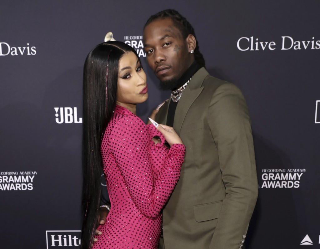 FILE - Cardi B, left, and Offset arrive at the Pre-Grammy Gala And Salute To Industry Icons in Beverly Hills, Calif. on  Jan. 25, 2020. Cardi B has fi...