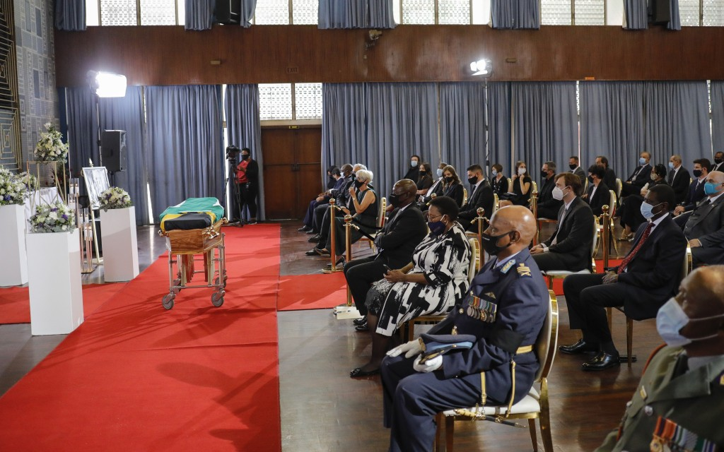 Delegates attend the official funeral of George Bizos at the Hellenic Cultural Centre in Johannesburg, South Africa, Thursday, Sept. 17 2020.  Bizos, ...