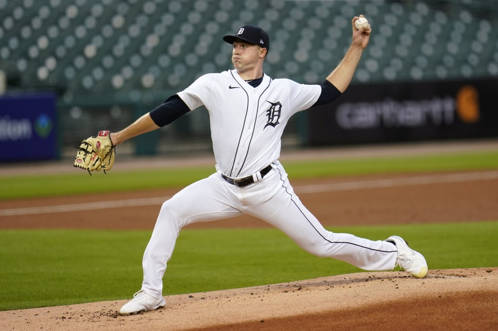 Detroit Tigers pitcher Tarik Skubal throws against the Kansas City Royals in the first inning of a baseball game in Detroit, Wednesday, Sept. 16, 2020...