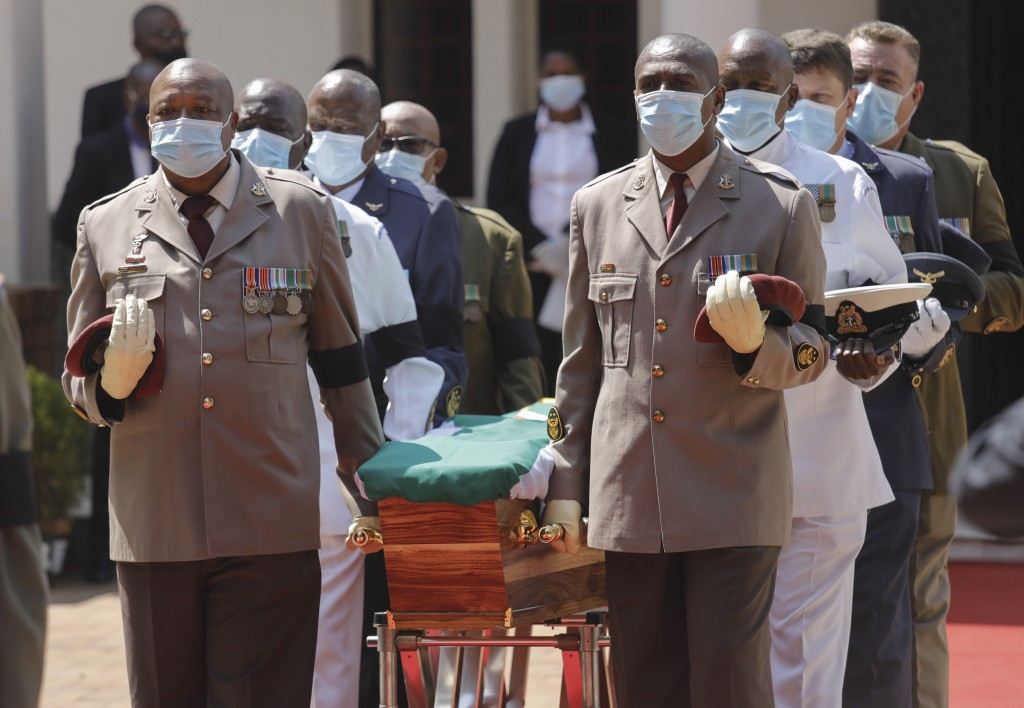 Pallbearers carry the coffin during the official funeral of George Bizos at the Hellenic Cultural Centre in Johannesburg, South Africa, Thursday, Sept...