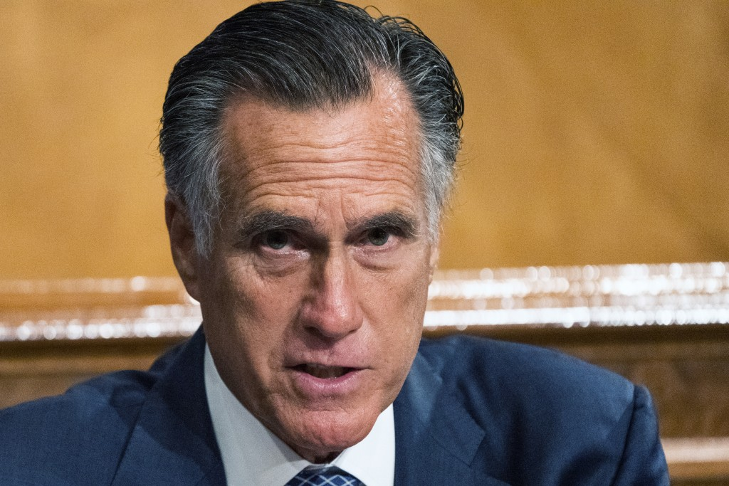 Senate Homeland Security and Governmental Affairs Committee member Sen. Mitt Romney, R-Utah, speaks during the committee's business meeting where it w...