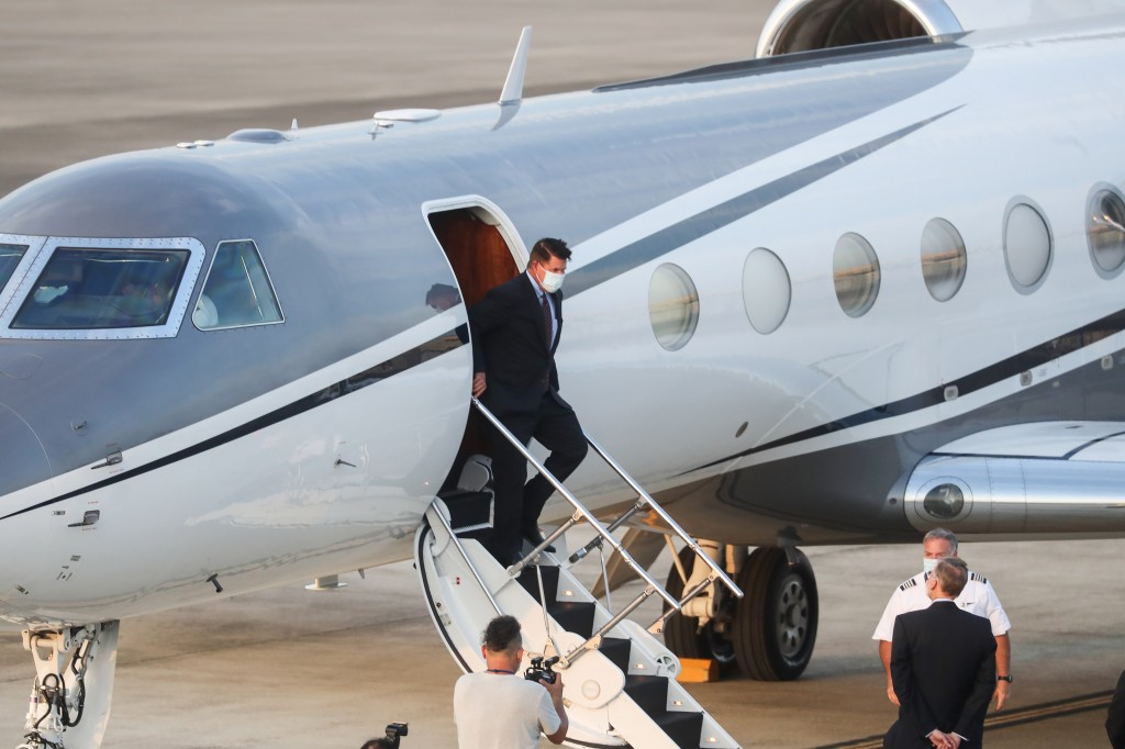 U.S. Under Secretary of State Keith Krach exits a plane upon arrival at the air force base airport in Taipei. Taiwan on Thursday, Sept. 17, 2020. Krac...