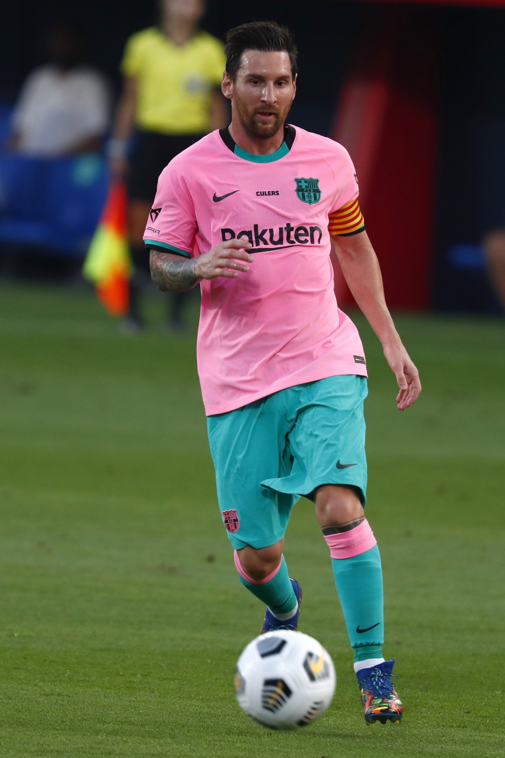 Barcelona's Lionel Messi controls the ball during the pre-season friendly soccer match between Barcelona and Girona at the Johan Cruyff Stadium in Bar...