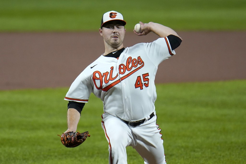 Baltimore Orioles starting pitcher Keegan Akin throws a pitch to the Atlanta Braves during the first inning of a baseball game, Wednesday, Sept. 16, 2...