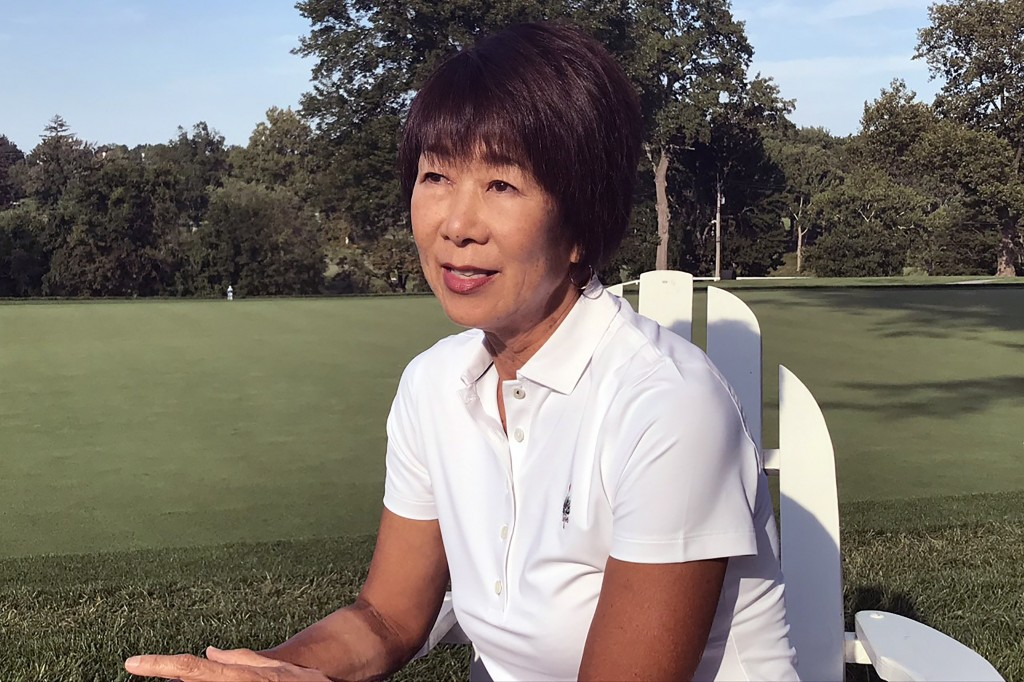 This handout provided by Kikuko Okajima, shows Kikuko Okajima at the Baltimore Country Club on Aug. 27, 2020, in Baltimore, Md. The woman leading Japa...