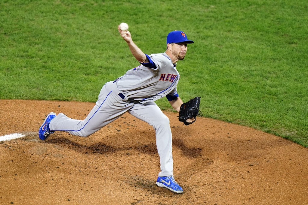 New York Mets' Jacob deGrom pitches during the second inning of a baseball game against the Philadelphia Phillies, Wednesday, Sept. 16, 2020, in Phila...