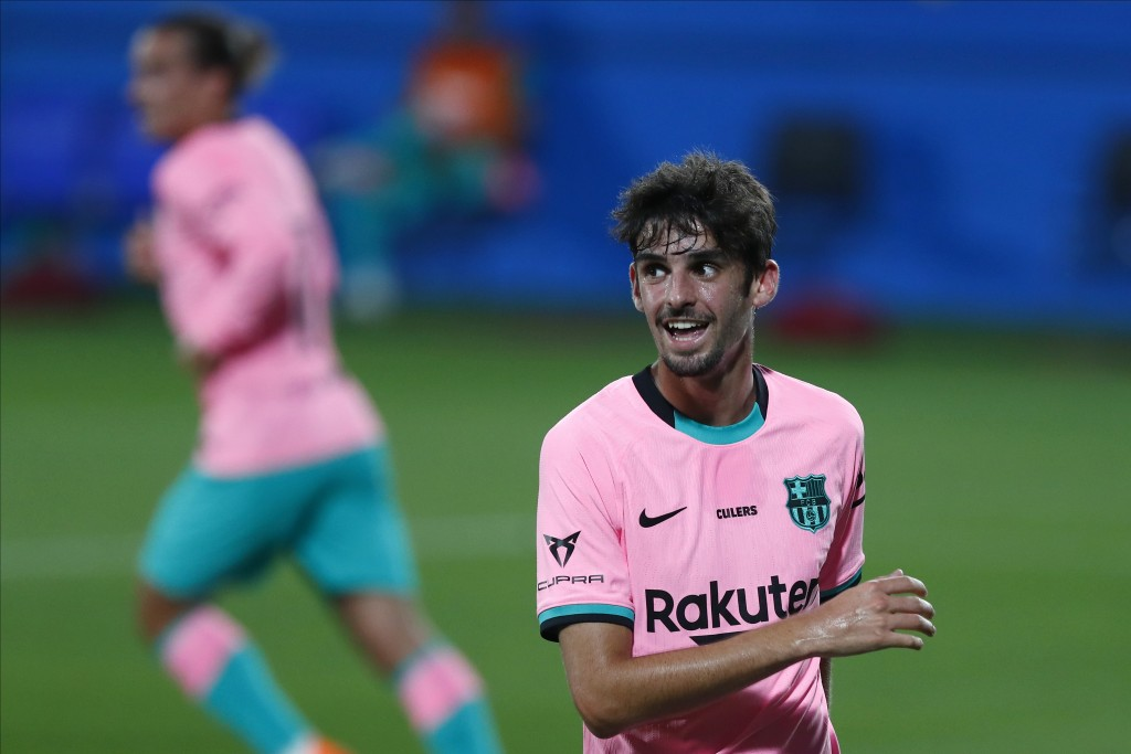 Barcelona's Francisco Trincao, gestures during the pre-season friendly soccer match between Barcelona and Girona at the Johan Cruyff Stadium in Barcel...