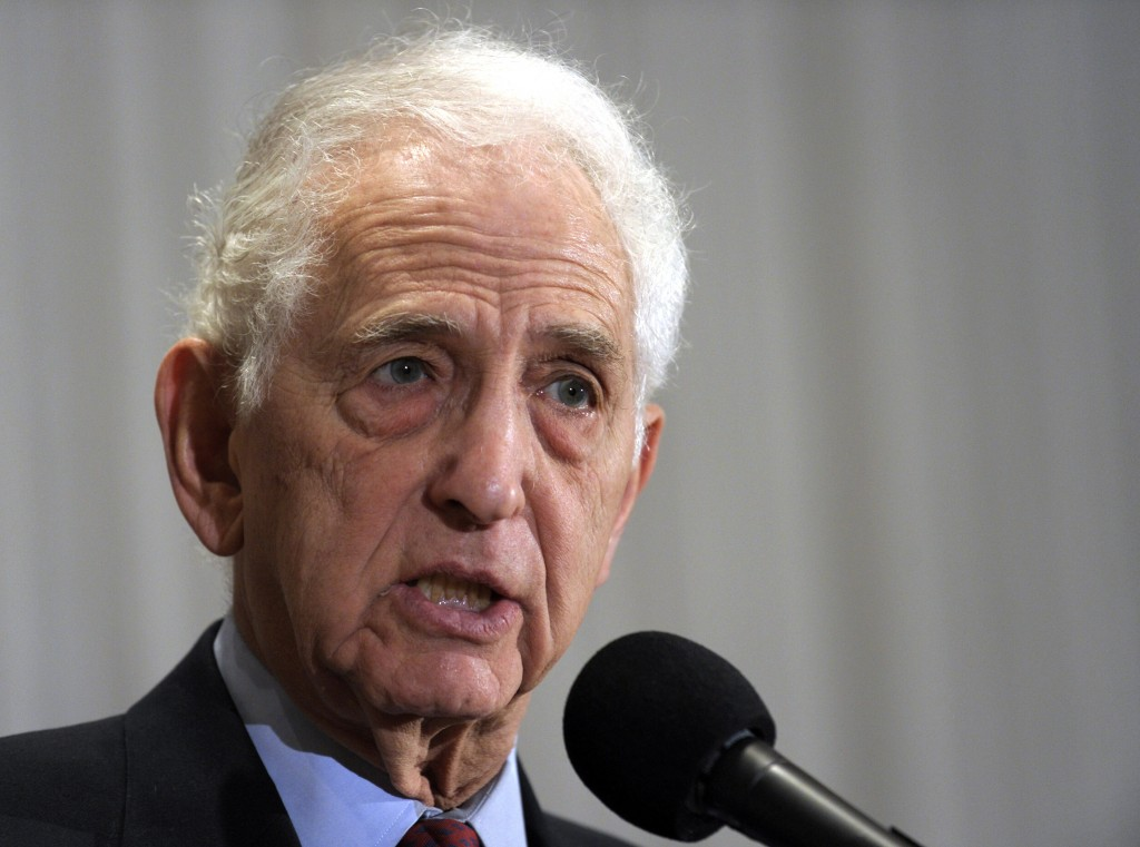 FILE - In this Dec. 16, 2010 file photo, Vietnam-era whistleblower Daniel Ellsberg speaks during a news conference at the National Press Club in Washi...