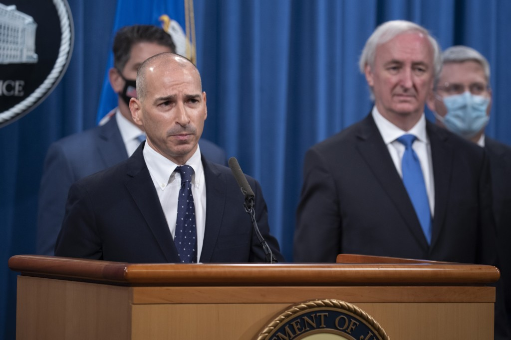 Acting U.S. Attorney for the District of Columbia Michael R. Sherwin speaks, Wednesday, Sept. 16, 2020 at the Justice Department in Washington. The Ju...