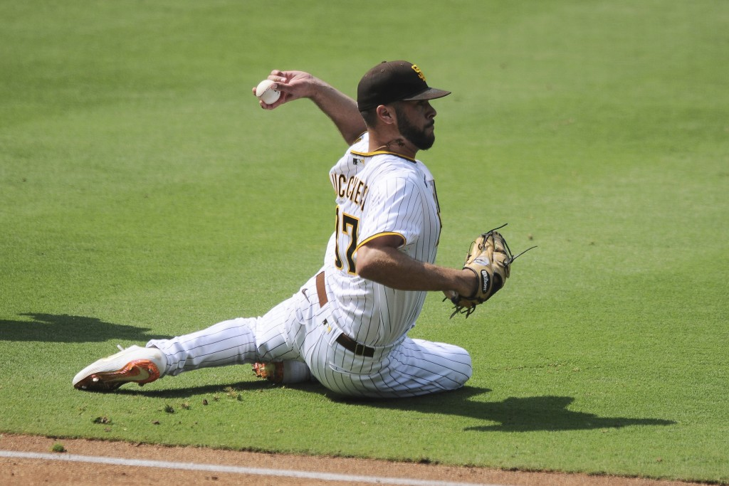 San Diego Padres starting pitcher Joey Lucchesi slips while throwing after fielding a ground ball off the bat of Los Angeles Dodgers' Will Smith durin...