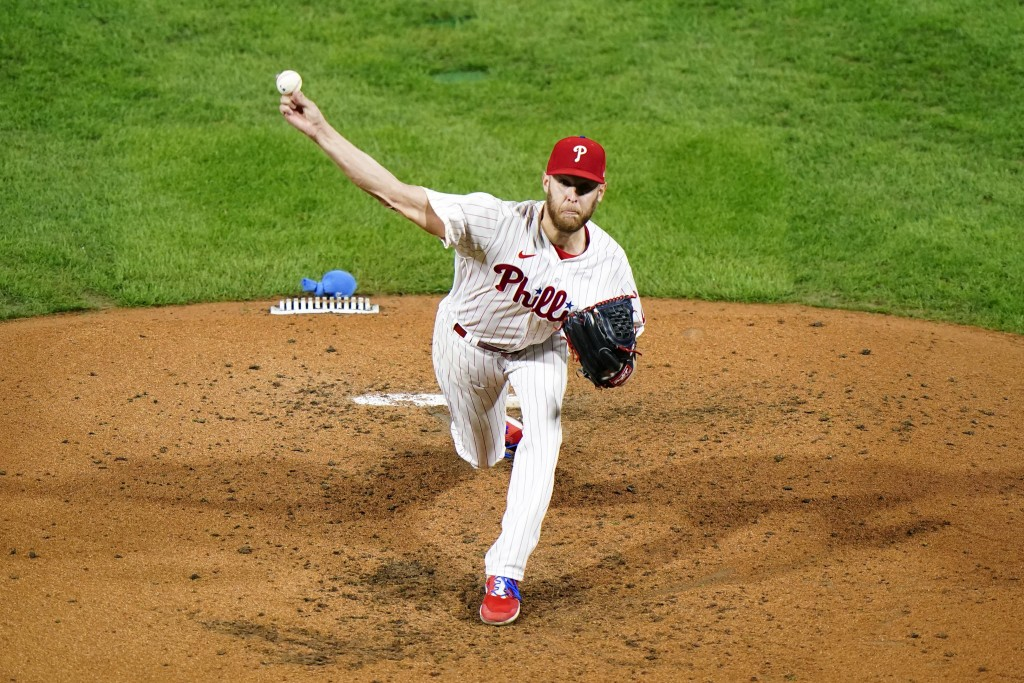 Philadelphia Phillies' Zack Wheeler pitches during the fifth inning of a baseball game against the New York Mets, Wednesday, Sept. 16, 2020, in Philad...