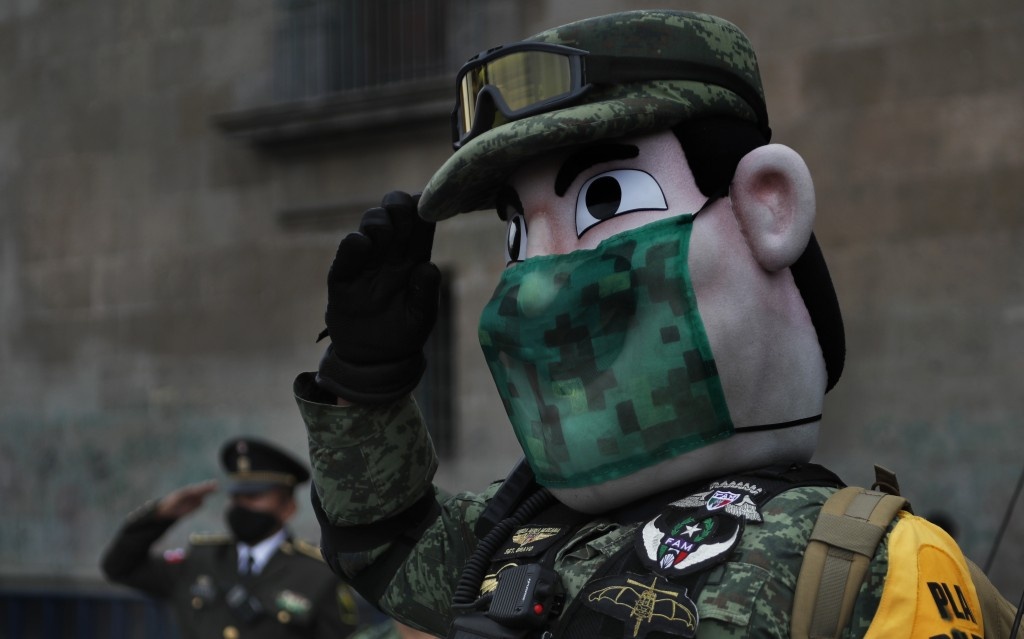 An army mascot salutes during the annual Independence Day military parade in Mexico City's main square of the capital, the Zócalo, Wednesday, Sept. 16...