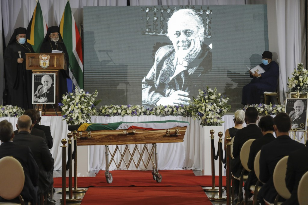 An official funeral service of George Bizos, reflected on background screen, takes place at the Hellenic Cultural Centre in Johannesburg, South Africa...
