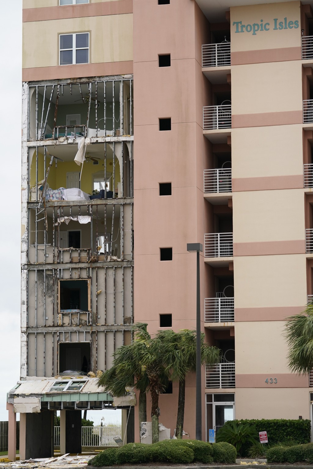 Tropic Isles condominiums are seen after Hurricane Sally moved through the area, Wednesday, Sept. 16, 2020, in Orange Beach, Ala. Hurricane Sally made...