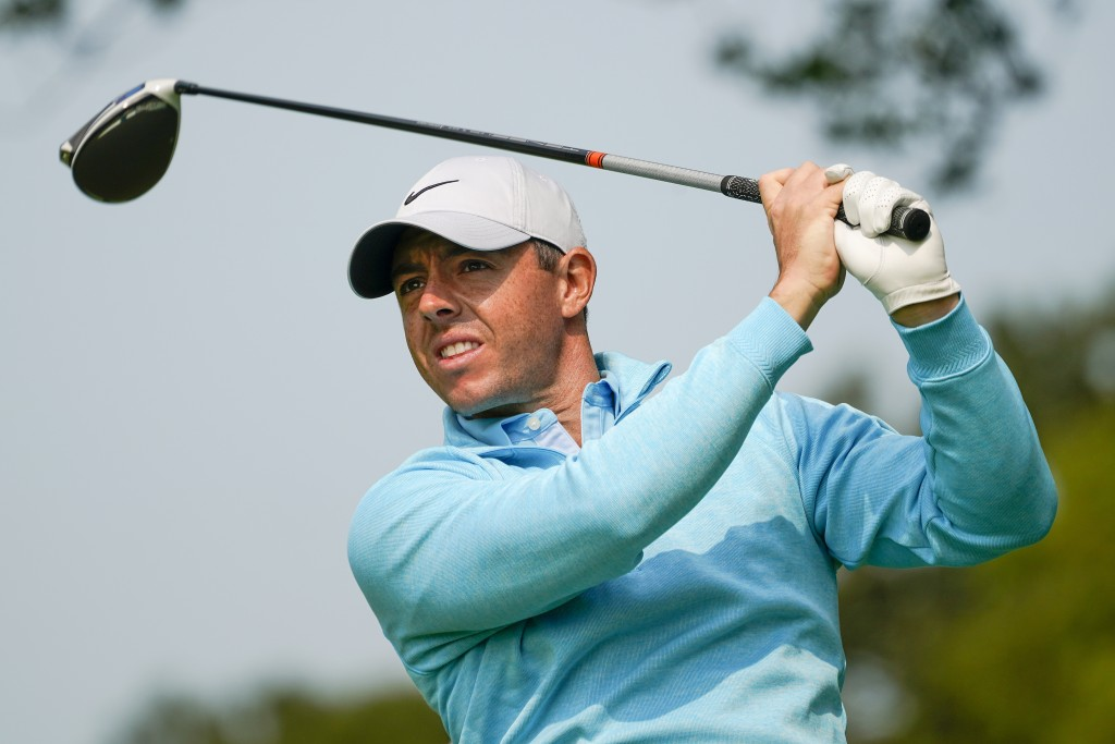 Rory McIlroy, of Northern Ireland, tees off during a practice round for the US Open Golf Championship, Wednesday, Sept. 16, 2020, in New York. (AP Pho...