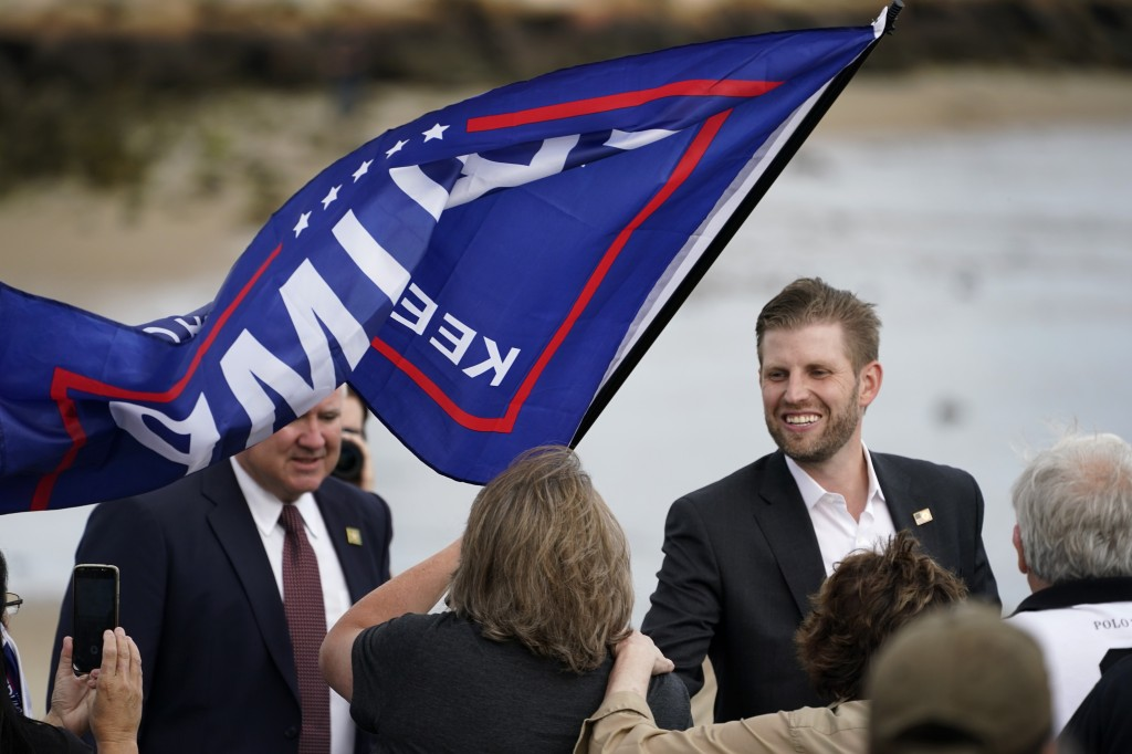 Eric Trump, the son of President Donald Trump, greets supporters at a campaign rally, Tuesday, Sept. 17, 2020, in Saco, Maine. (AP Photo/Robert F. Buk...