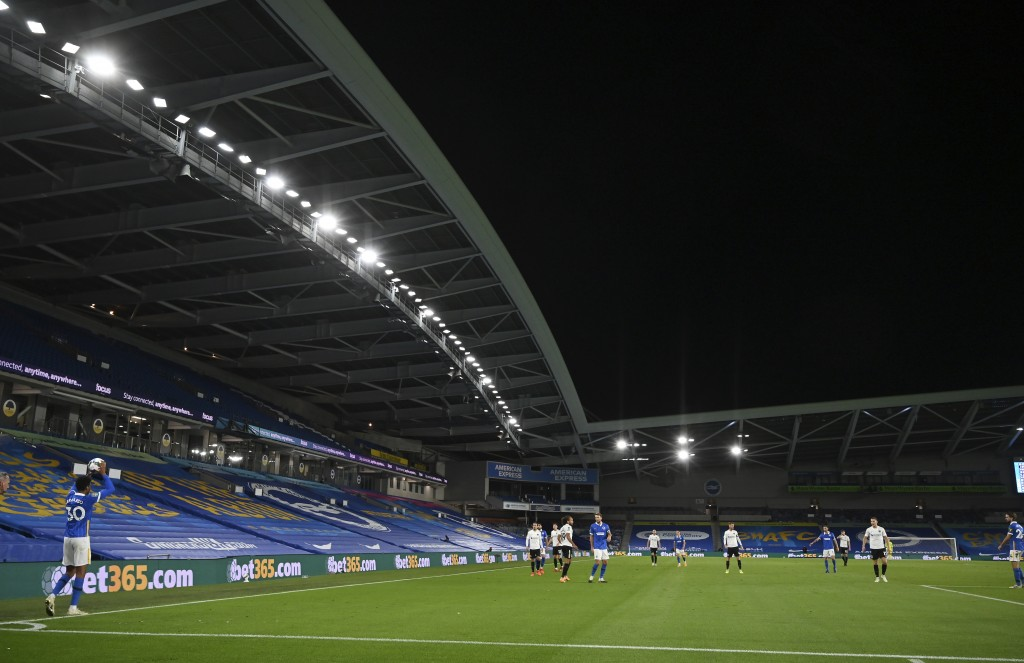A view of the English League Cup soccer match between Brighton and Portsmouth at Amex arena in Brighton, England, Thursday, Sept. 17, 2020. (Glynn Kir...