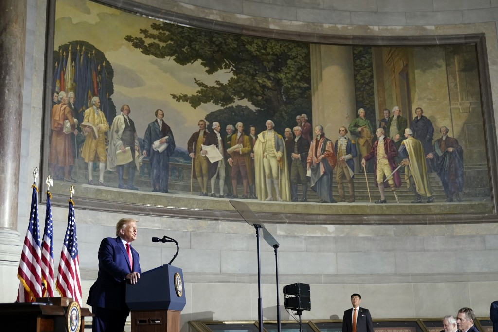 President Donald Trump speaks to the White House conference on American History at the National Archives museum, Thursday, Sept. 17, 2020, in Washingt...