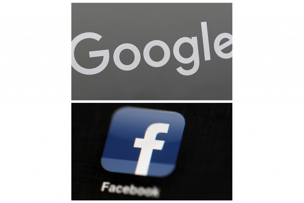 FILE - This combination of file photos shows a Google sign and the Facebook app. Global digital platforms The author of proposed Australian laws to ma...