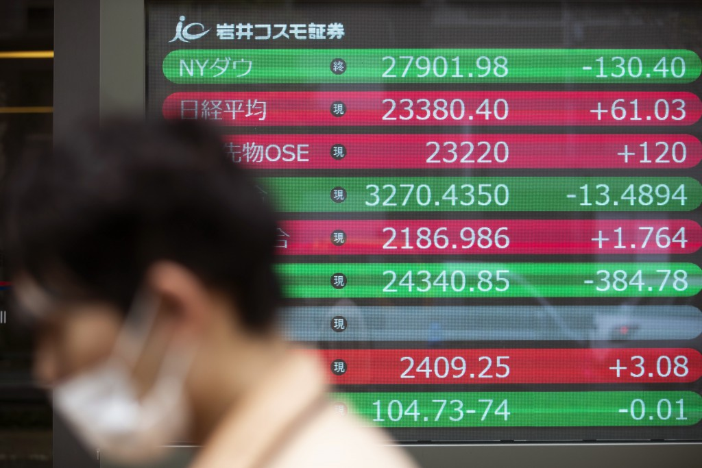 A man walks by screens showing the Dow Jones Industrial Average, top, and  Japan's Nikkei 225 index, second from top, at a securities firm in Tokyo on...