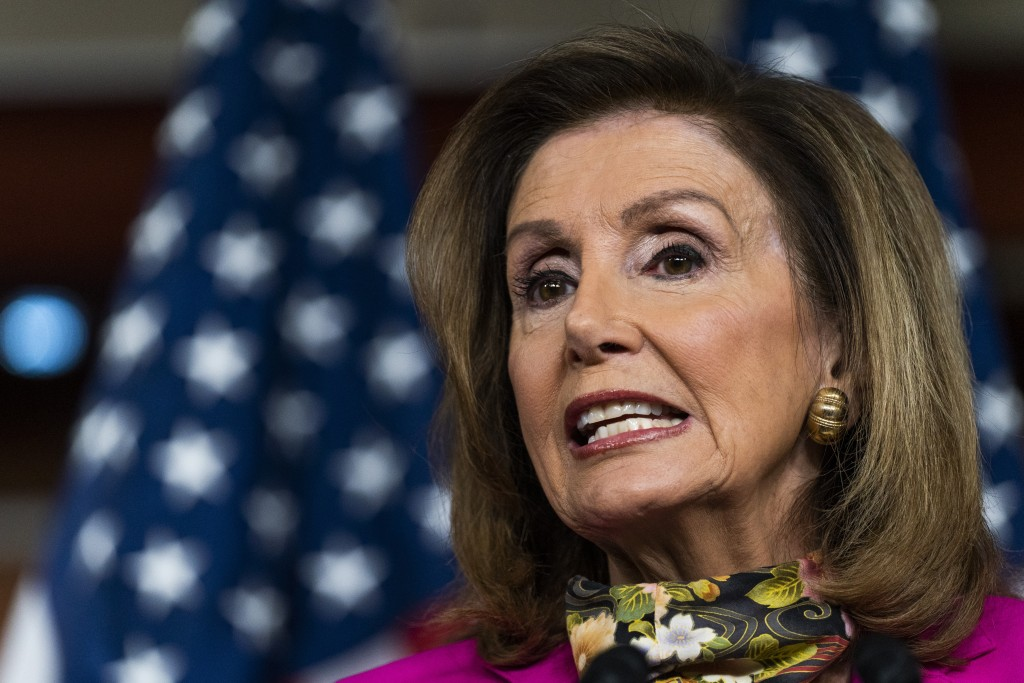 House Speaker Nancy Pelosi of Calif., speaks during a news conference on Capitol Hill, Friday, Sept. 18, 2020, in Washington. (AP Photo/Manuel Balce C...