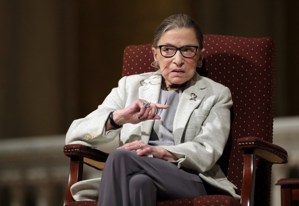 FILE - In this Feb. 6, 2017 file photo, Supreme Court Justice Ruth Bader Ginsburg speaks at Stanford University in Stanford, Calif. The Supreme Court ...