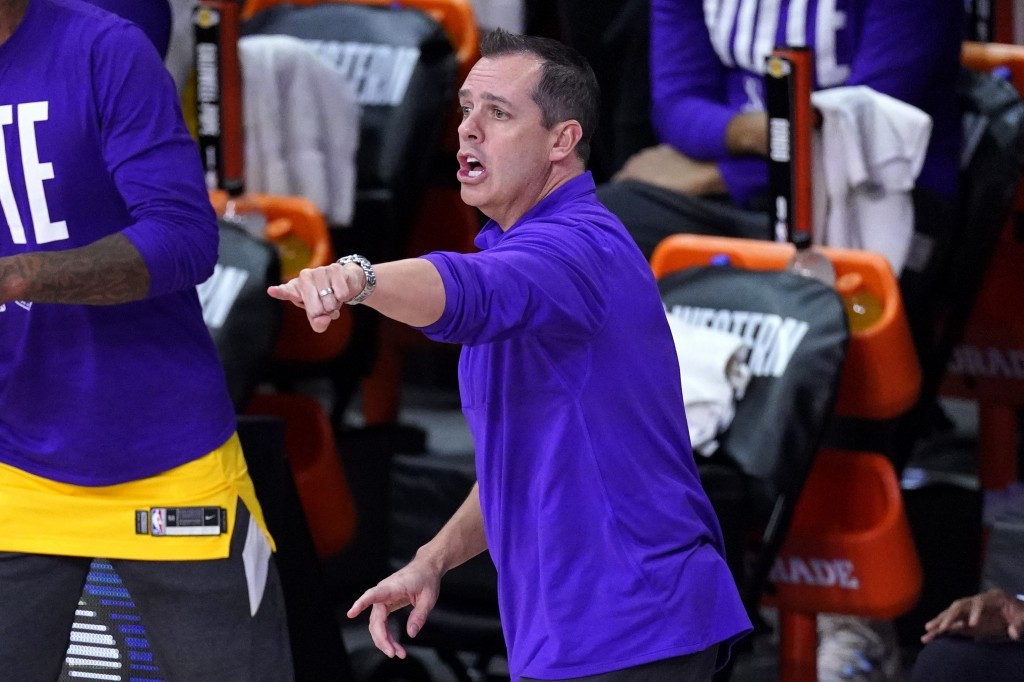 Los Angeles Lakers head coach Frank Vogel instructs his team during the second half an NBA conference final playoff basketball game against the Denver...