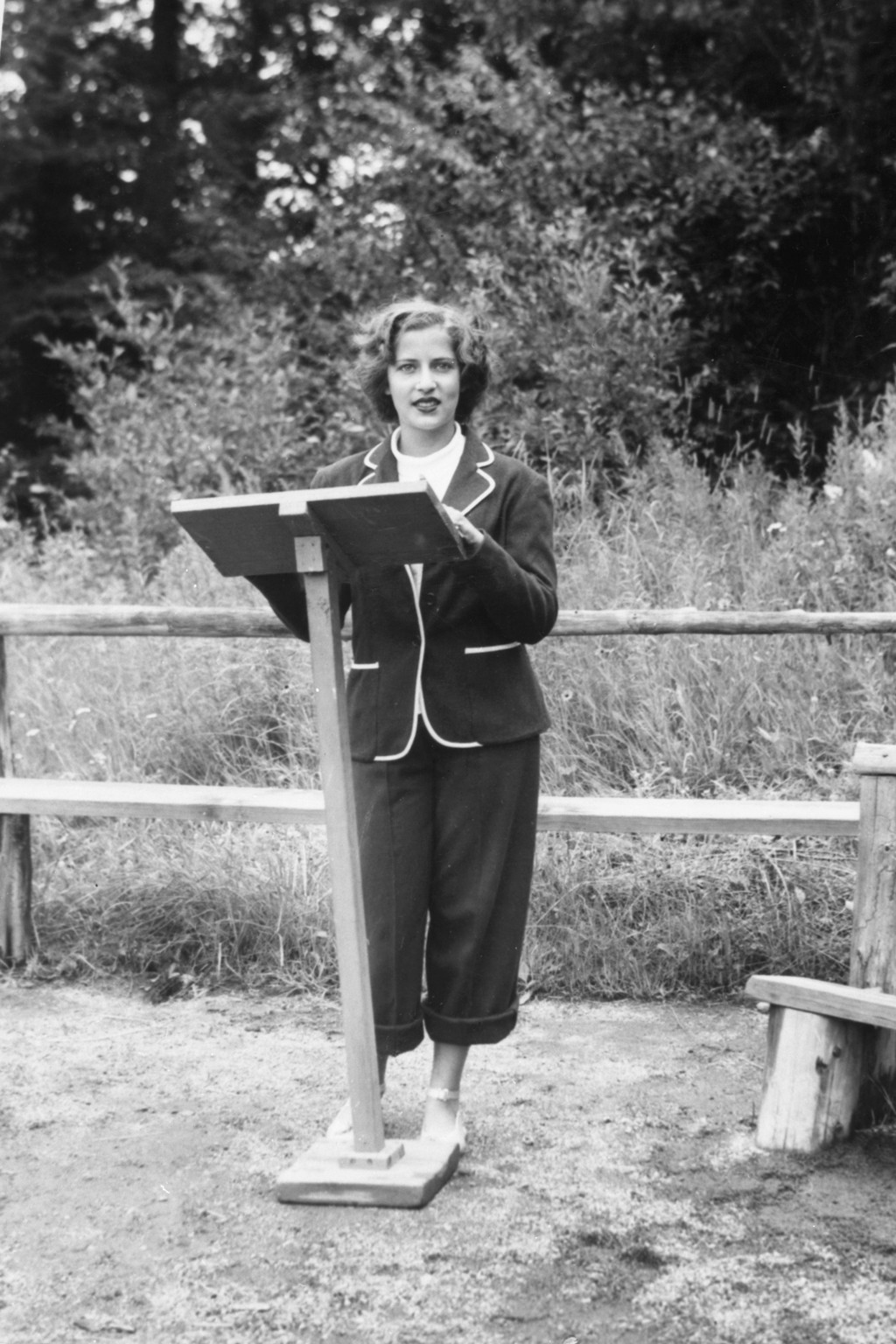 This 1948 photo provided by the Supreme Court shows Ruth Bader, at age 15, giving a sermon as the camp rabbi at Che-Na-Wah in Minerva, N.Y. Supreme Co...