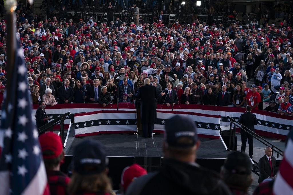 President Donald Trump speaks during a campaign rally at Bemidji Regional Airport, Friday, Sept. 18, 2020, in Bemidji, Minn. (AP Photo/Evan Vucci)