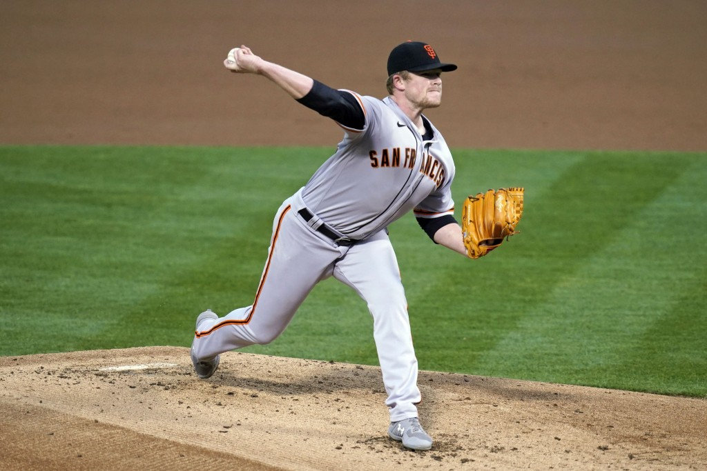 San Francisco Giants starting pitcher Logan Webb works in the first inning of a baseball game against the Oakland Athletics, Friday, Sept. 18, 2020, i...