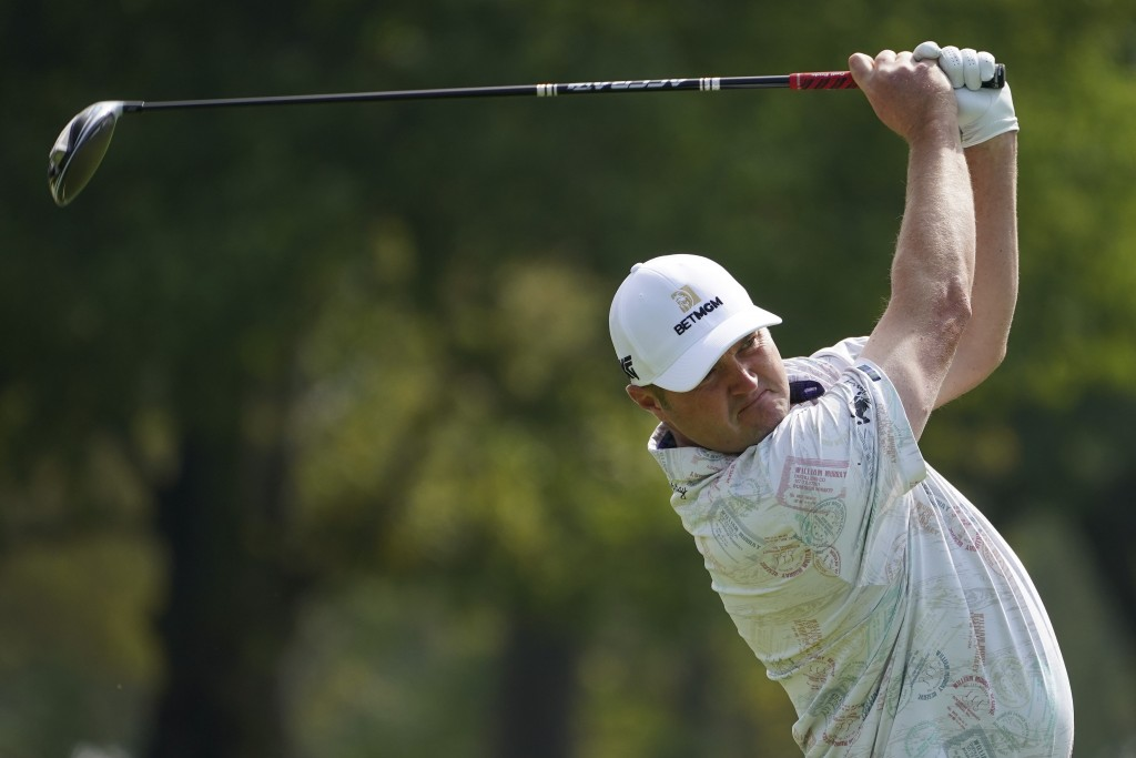 Jason Kokrak, of the United States, plays his shot from the sixth tee during the second round of the US Open Golf Championship, Friday, Sept. 18, 2020...