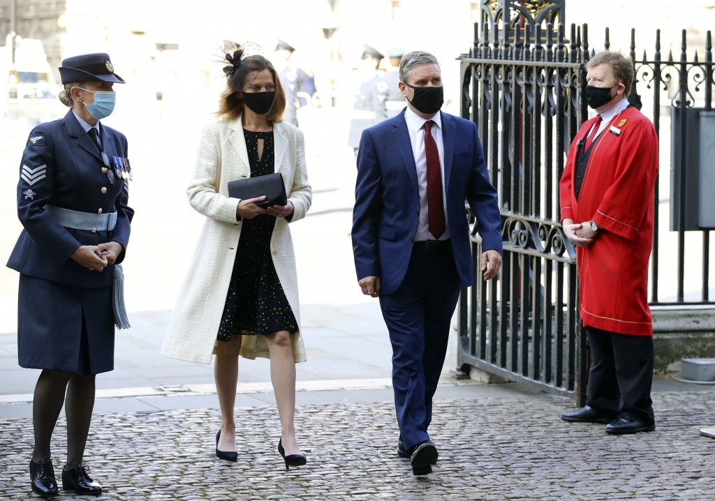Britain's Labour party leader Sir Keir Starmer and his wife Victoria, center, arrive for a service to mark the 80th anniversary of the Battle of Brita...