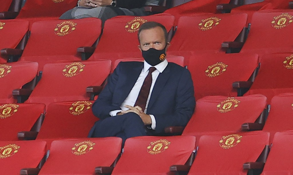 Manchester United Chief Executive Ed Woodward watches on during the English Premier League soccer match between Manchester United and Crystal Palace a...