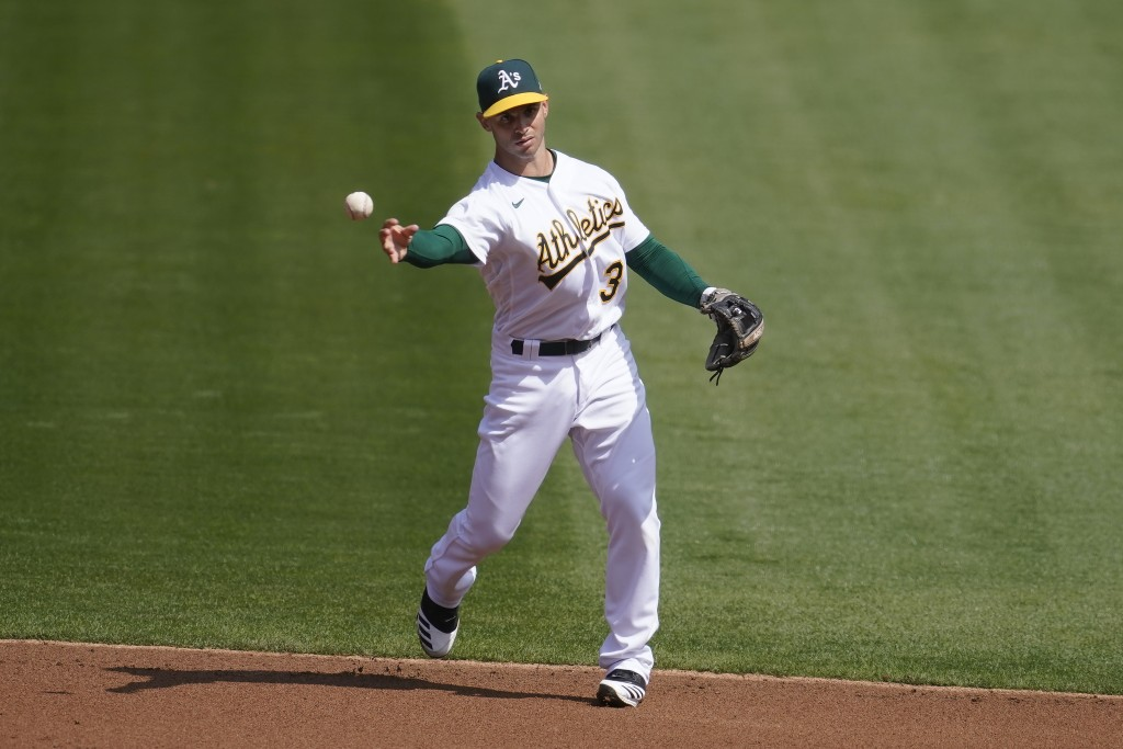 Oakland Athletics second baseman Tommy La Stella (3) throws out San Francisco Giants' Darin Ruf at first base during the first inning of a baseball ga...