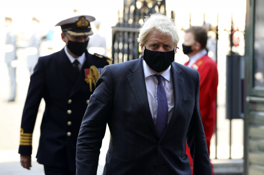 Britain's Prime Minister Boris Johnson arrives for a service to mark the 80th anniversary of the Battle of Britain at Westminster Abbey, London, Sunda...