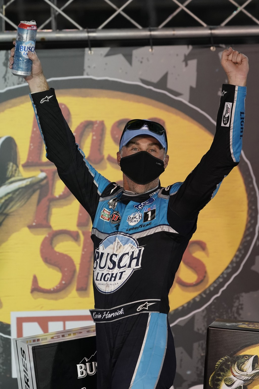 Kevin Harvick celebrates in Victory Lane after his win in the NASCAR Cup Series auto race Saturday, Sept. 19, 2020, in Bristol, Tenn. (AP Photo/Steve ...