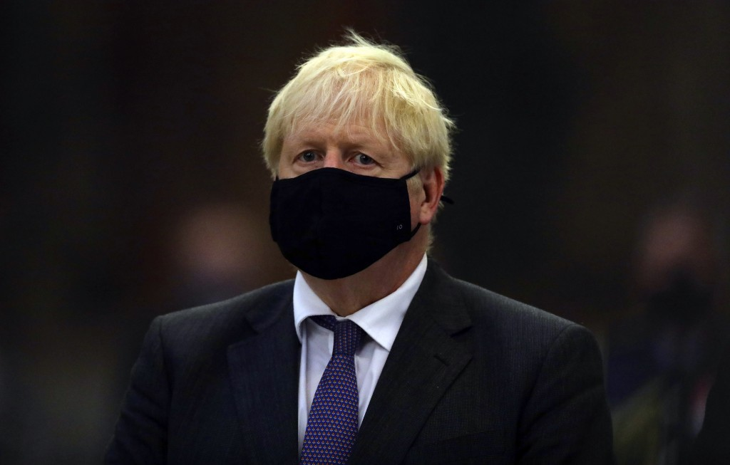 Britain's Prime Minister Boris Johnson looks on during a service to mark the 80th anniversary of the Battle of Britain at Westminster Abbey, London, S...
