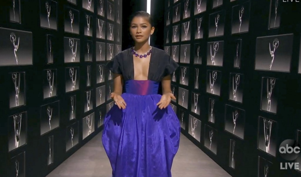 In this video grab captured on Sept. 20, 2020, courtesy of the Academy of Television Arts & Sciences and ABC Entertainment, Zendaya speaks during the ...
