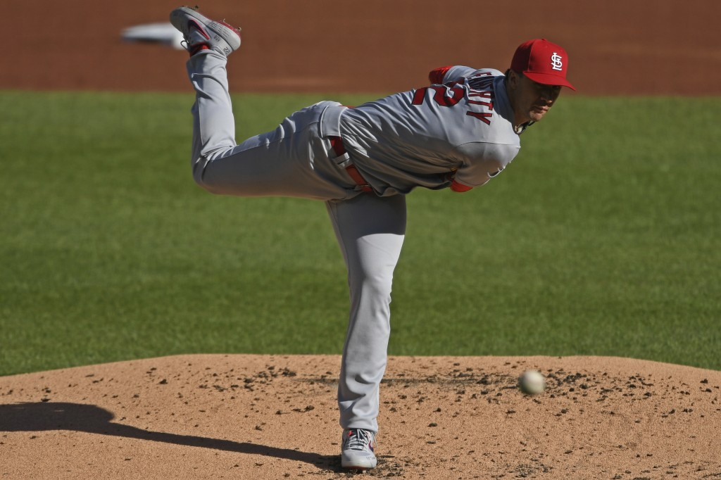 St. Louis Cardinals starting pitcher Jack Flaherty delivers during the first inning of a baseball game against the Pittsburgh Pirates, Sunday, Sept. 2...