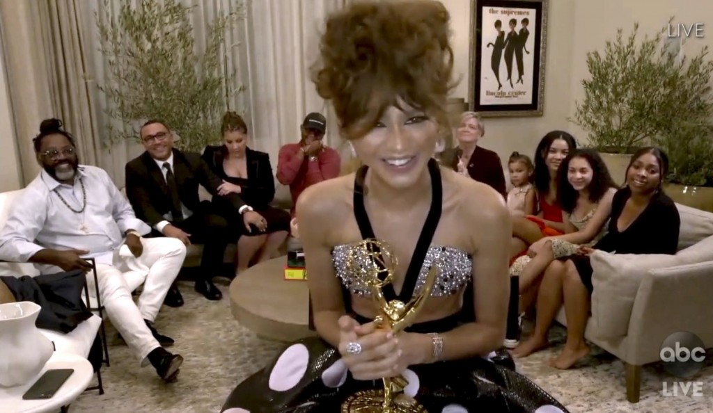 In this video grab captured on Sept. 20, 2020, courtesy of the Academy of Television Arts & Sciences and ABC Entertainment, Zendaya accepts the award ...