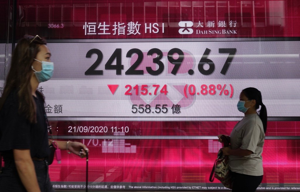 People wearing face masks walk past a bank's electronic board showing the Hong Kong share index at Hong Kong Stock Exchange Monday, Sept. 21, 2020. As...