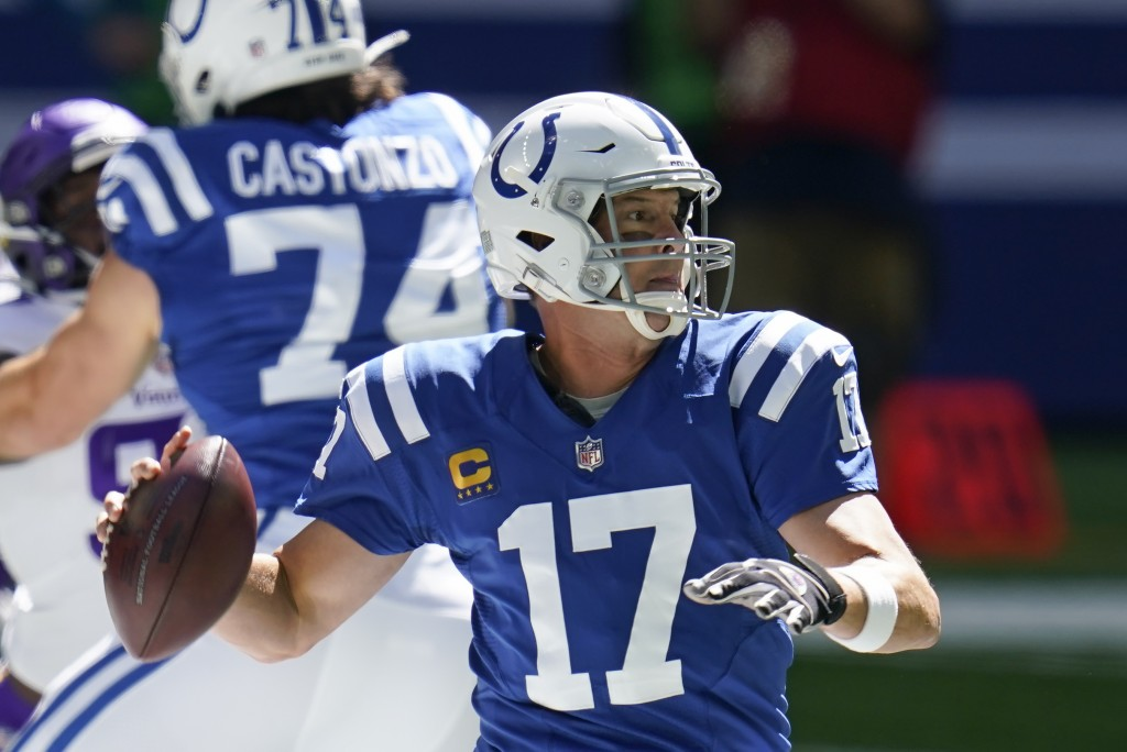 Indianapolis Colts quarterback Philip Rivers (17) throws during the first half of an NFL football game against the Minnesota Vikings, Sunday, Sept. 20...