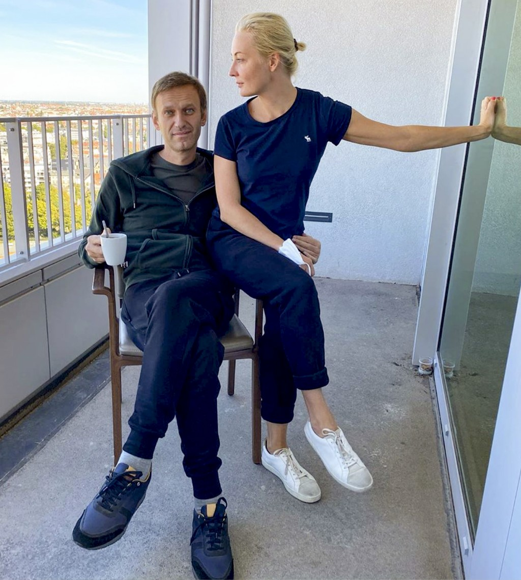 In this photo published by Russian opposition leader Alexei Navalny on his Instagram account on Monday, Sept. 21, 2020, Russian opposition leader Alex...