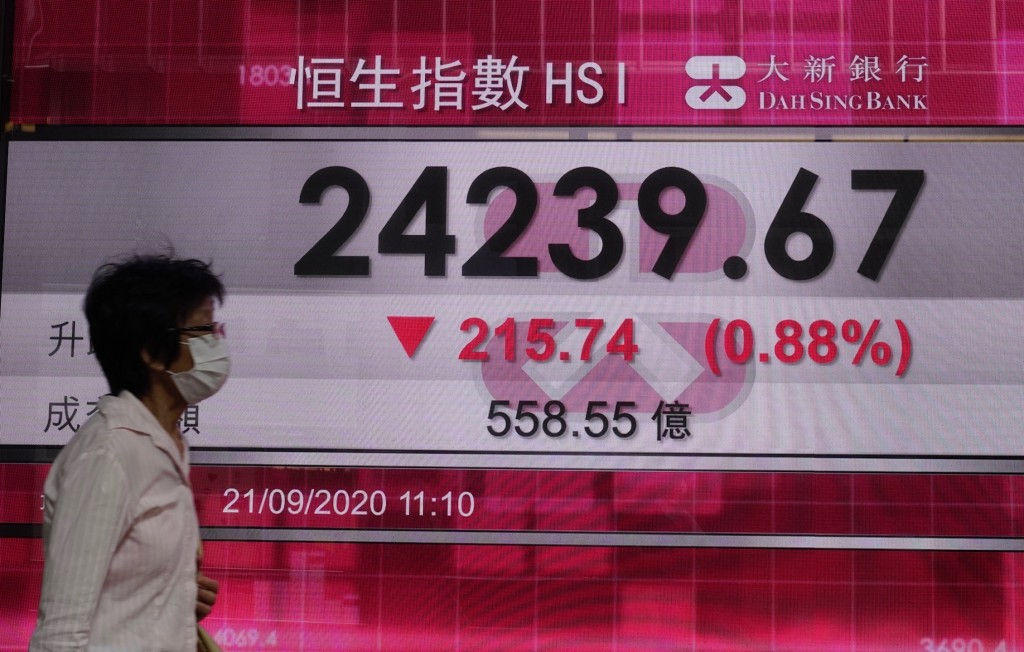 A woman wearing face mask walks past a bank's electronic board showing the Hong Kong share index at Hong Kong Stock Exchange Monday, Sept. 21, 2020. A...